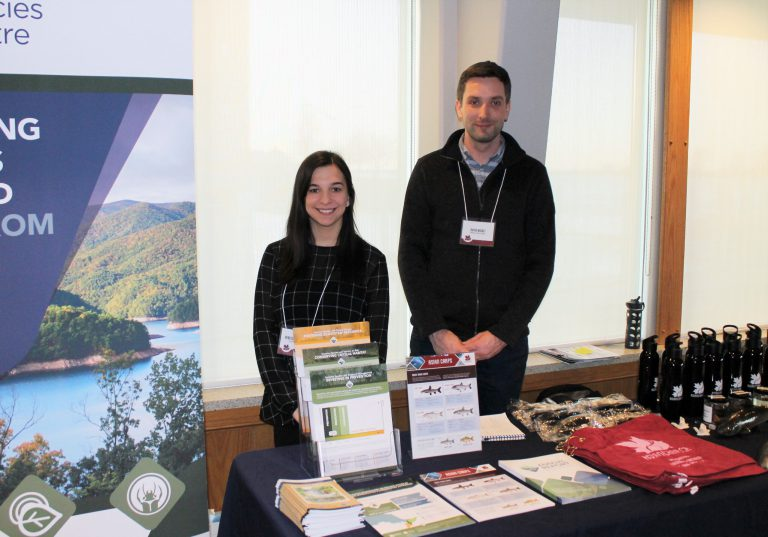 ISC's Rebecca Schroeder and David Nisbet at the 2020 Asian Carp Info Session in Windsor, Ontario.