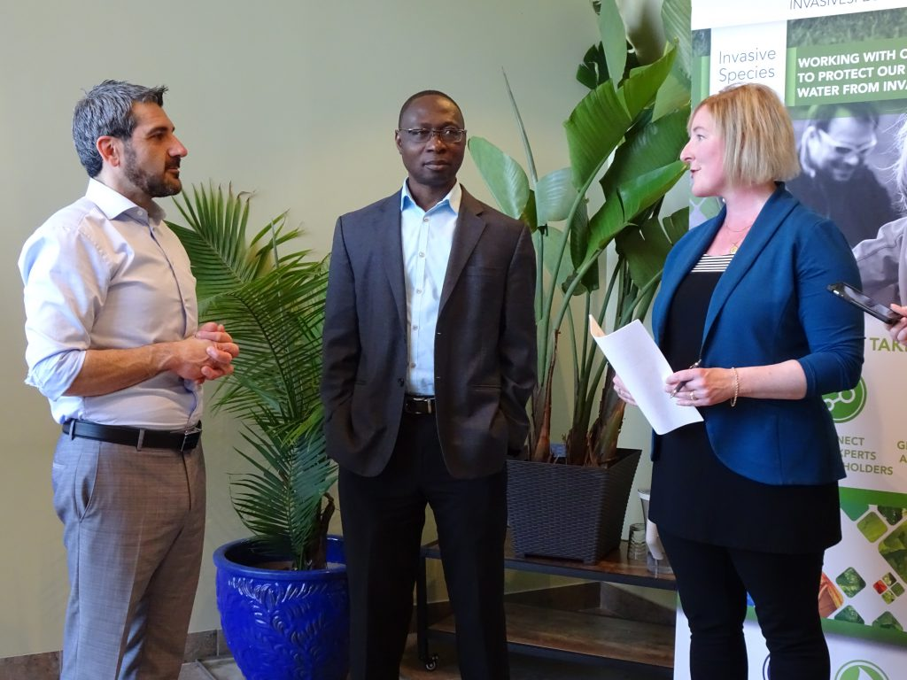 ISC's Deb Sparks with the Honourable Ross Romano and Fisheries and Oceans Regional Director General of the Central and Arctic Region, Dr. David Nanang (former Director General of the Great Lakes Forestry Centre).